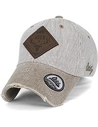 ililily Reh WILD LIFE künstliches Leder Flicken klassischer Stil abgenutztes Aussehen gestreift Baseball Cap
