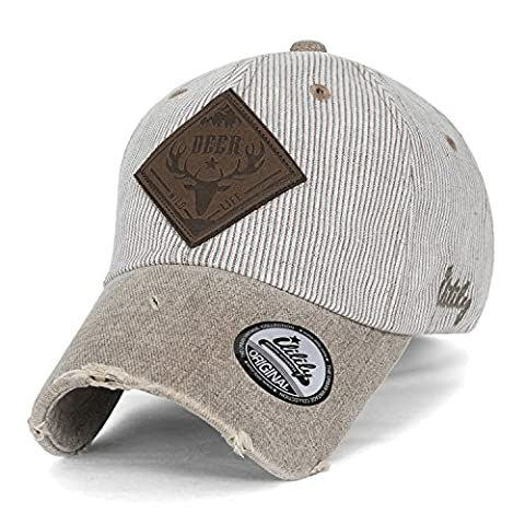 ililily DEER WILD LIFE Faux Leather Patch Vintage Distressed Stripe Baseball Cap , Beige