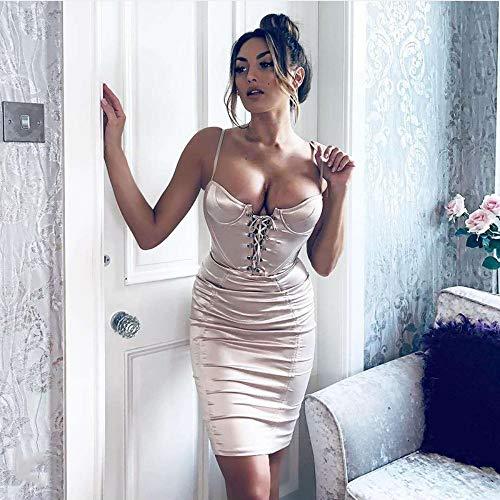 JJHR Kleider Champagner Party Kleid Sommer Frauen Korsett Stil Büste Gepolsterter BH Bodycon Satin Kleid Aushöhlen Lace Up Kleid Midi, XL (Champagner-kleid Für Frauen)
