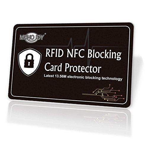 MONOJOY RFID NFC Blocker Karte, RFID Blocking Card NFC Schutzkarte, Störsender, Kreditkarten Schutz Blockierkarten für Geldbörse, Cliphalter, Bankkarte, Ausweise, Reisepass, Credit Card, Keine Batter