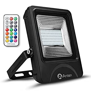 Anten 50W IP66 RGB SMD 3030 Waterproof LED Floodlight,Remote Control,Colour Changing LED Security Light,Dimmable, Wall Washer Light,for Christmas,Camping, Workshops, Boats, etc [Energy Class A+]