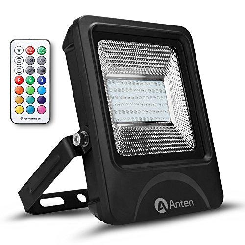 Anten 50W RGB Fluter Mit Fernbedienung, Schuppe ähnelnder Reflektor, Farbwechselhafte LED Sicherheitsleuchte, LED Flutlichtstrahler IP66, LED Strahler inkl.Kabelverbinder, LED Scheinwerfer, LED Außenleuchten