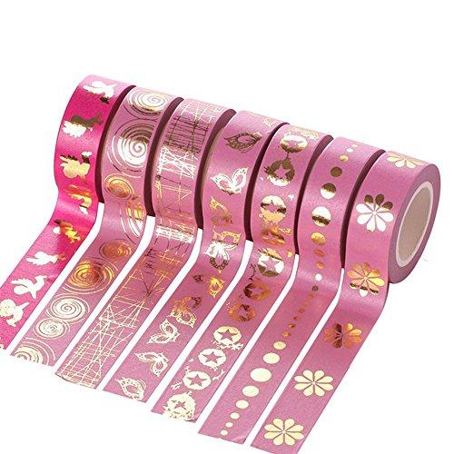 Fablcrew DIY Klebeband Gold Himmel Rosa Papier Tape Washi Masking Tape 6 Rolls/Set 10m*15mm -