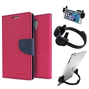 Aart Fancy Diary Card Wallet Flip Case Back Cover For Asus Zenfone 2 - (Pink) + Flexible Portable Mount Cradle Thumb Ok Stand Holder By Aart store