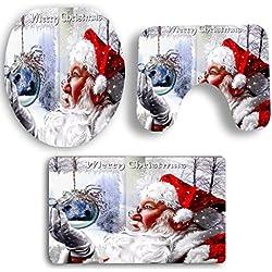 Badematten Set Clode® 3 STÜCKE Weihnachten WC Badezimmer Rutschfeste Sockel Teppich + Deckel Wc-abdeckung + Badematte Set Für Weihnachten Dekoration (E)