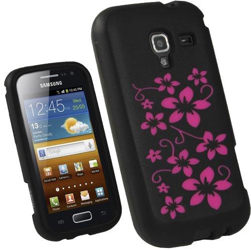 igadgitz U1851 Nero/Floreale Custodia Silicone per Samsung Galaxy Ace 2 I8160 Smartphone Cover Case + Protettore schermo - Nero