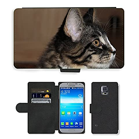 GoGoMobile PU Leather Flip Custodia Protettiva Case Cover per // M00124374 Cat animal jeune chat espiègle Curieux // Samsung Galaxy S5 S V SV i9600 (Not Fits S5 ACTIVE)