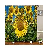 Epinki Polyester Duschvorhang Sonneblumen Muster Bad Vorhang Mehrfarbig für Badewanne 150x180CM