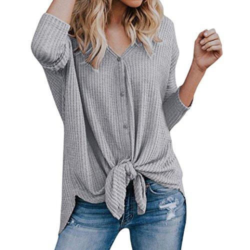 Yvelands Frauen lösen Knit Tunika Bluse Tie Knot Henley Tops Fermaus-Flügel Plain Shirts