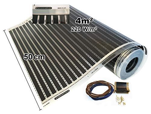 Calorique Infrarot Heizfolie Elektrische Fußbodenheizung 50 cm Set 220 W/m² 4,0 m² - effiziente und kostengünstige Heizung für Neubau oder Altbau-Sanierung