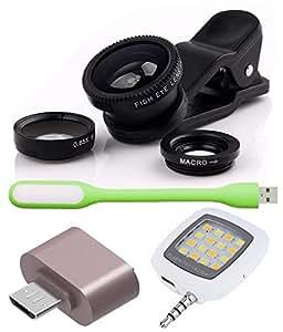 Advent Graphics Combo of Universal Mobile Camera Lens Kit, Cute little OTG Adapter, USB LED Light and Selfie LED Flash Light