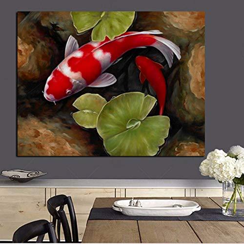 Rjjdd Druck Chinesischen Koi Fisch Lotus Feng Shui Tier Landschaft Leinwand Malerei Wandkunst Bild Für Wohnzimmer Moder Sofa Wohnkultur Segeltuch - Koi Feng-shui Fisch