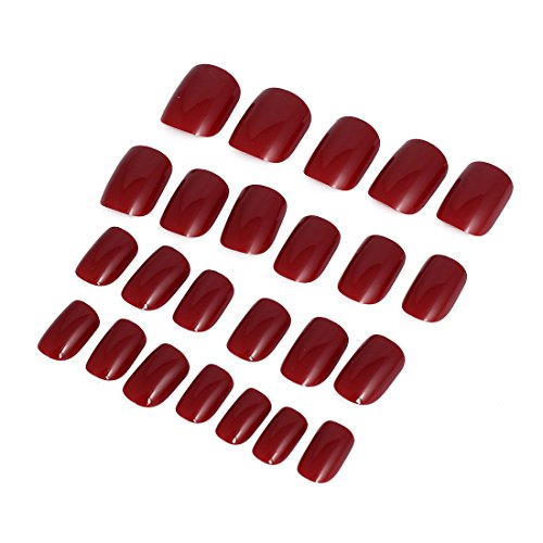 sourcingmap Femme DIY Faux Ongle Complet Art Pour Les Ongles Pointe 24 en 1 Rouge