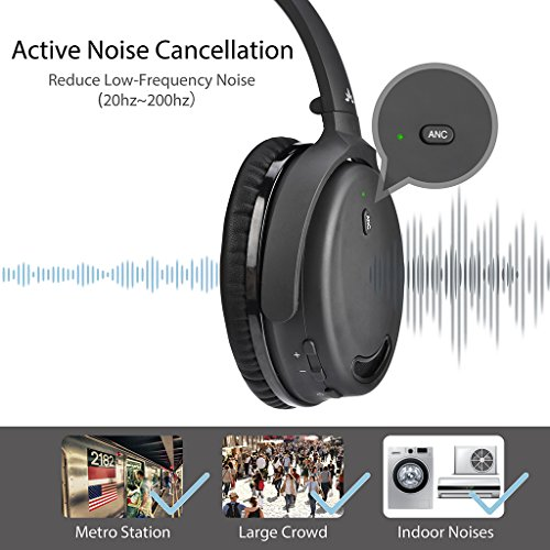 Avantree ANC032 Bluetooth 4.1 Active Noise Cancelling Kopfhörer mit Mikrofon, Wireless Wired Superleicht Komfortabel Klappbar Stereo ANC Over Ear Headset für Handys PC TV - 2