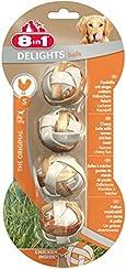 8in1 Delights Kaubälle Größe S (gesunder Kausnack in Ballform für kleinere Hunde, mit echtem Hähnchenfleisch), 4 Stück (36 g)