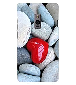 ColourCraft Heart in Stones Design Back Case Cover for OnePlus Two