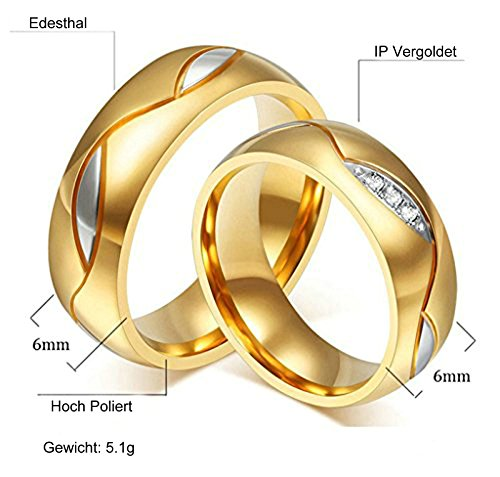 Aooaz Schmuck Damen Ring Hochzeit Ringe Runde Form Blatt Breite 6mm Edelstahl Ehering Gold Verlobungsringe für Damen Größe 54(17.2)