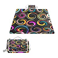 BALII Abstract Colored Circle Picnic Blanket Rug Mat Waterproof Backing for Outdoor Beach Camping