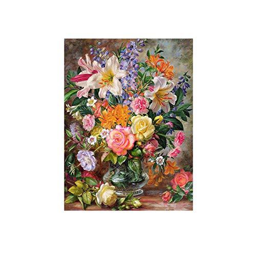 �lde Blumen Bilder Leinwand Anstrich für Wohnzimmer-Wand-Kunst-Dekor,DIY gerahmt 40x50cm,Y5067 ()