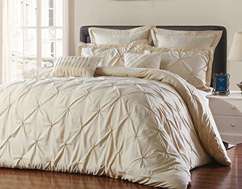 Unique Home 8-teilig Wende Pinch Falte Tröster Set-Farbbeständig, knitterfreies, kein Bügeln notwendig, Super Weich-mater-taupe, Polyester-Mischgewebe, taupe, California King - Twin Full Loft
