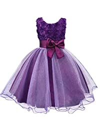 Discoball Girls Flower Dress Formal Wedding Bridesmaid Party Christening Dress Princess Lace Dress for Kids