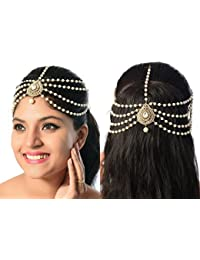 Rich Lady Fancy Style Design Matha Patti For Wedding Gold Finishing With Pearl And Stone In White