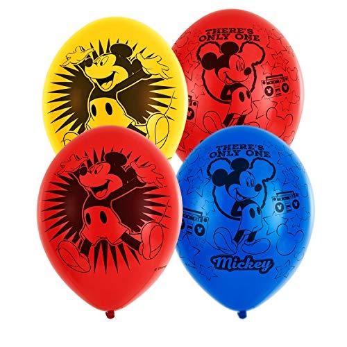amscan 9903665 Mickey 6 Latexballons Micky Maus, Gelb, Blau, Rot (Mit Maus Dekoration Und Rot Minnie Schwarz)