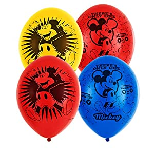 amscan 9903665 Mickey - Globos de látex (6 Unidades), diseño de Mickey Mouse, Color Amarillo, Azul y Rojo