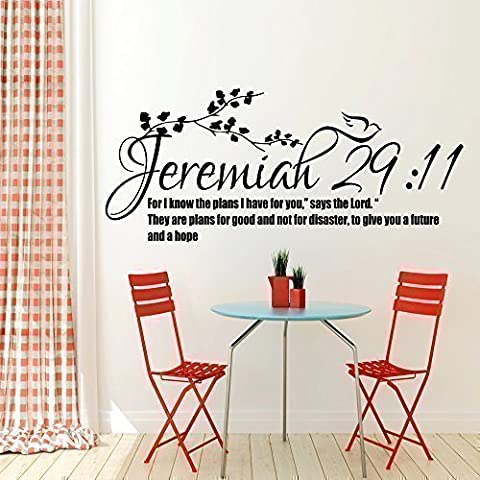Jeremiah 29:11 Bible Quote Christian Wall Sticker Vinyl Decal