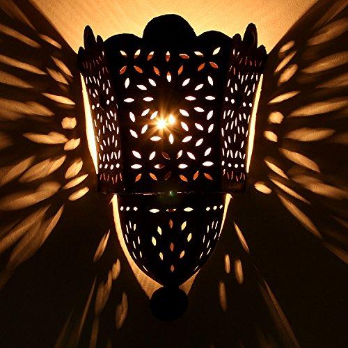 Orientalische Wandlampe marokkanische Wandleuchte EWL34 | H 33 x B 22 cm edel rost-braun Eisen-Lampe für Flur & Wand-Deko | Prachtvolle Wandstrahler für tolle Lichteffekte wie aus 1001 Nacht | L1791 - Eisen-wand-schatten