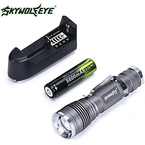 Linternas Tacticas Pequeñas, Oyedens 5000 Lumen CREE 3 modos Q5 LED Mini luz de la antorcha recargable 18650