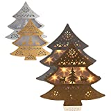 LED Tannenbaum,Gold/ Silber, Timer, 15 LEDs & Hologrammfolie, Weihnachtsbaum, Tanne (Silber) …