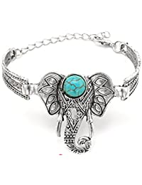 GirlZ! Silver Color Alloy Elephant Blue Faux Stone Charm Bracelets Bangles For Women