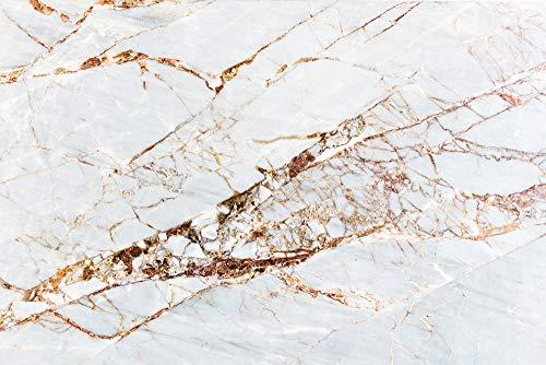 """Cuadros Lifestyle Küchen Spritzschutz \""""Weißer Marmor\""""   Küchenrückwand   Alu-DiBond   Fliesenschutz für den Herd und Spüle   Küche   Küchenfliesen   Fliesenspiegel   Rückwand, Größe:60 x 40 x 0.3 cm"""