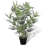 Anself Kunstpflanze Zimmerpalme Künstlicher Bambusbaum mit Topf 80cm
