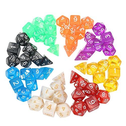 GOZAR 56 Stücke Polyhedral Rpg Mtg Würfel Sets 8 Farben 4D 6D 8D 10D 12D 20D Mit 8 Beutel