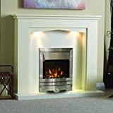 "Electric Cream Ivory Silver LED Flame Fire Wall Surround Fireplace Suite Lights Big Spotlights - Large 54"" - UK Mainland Only"