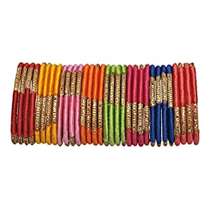 A.B.S. by Allen Schwartz 8 Attractive Colours Gorgeous Silk Thread Multicolor Bangles for Women Traditional