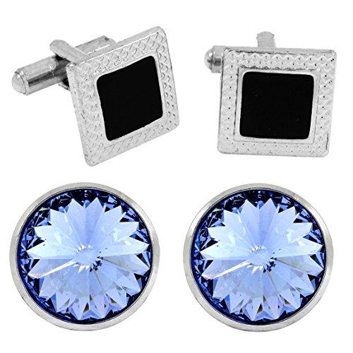 Die Jewelbox eckig rund Form Kristall Emaille blau schwarz rhodiniert Bass Manschettenknöpfe Combo für Herren