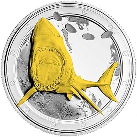 Moneda de Tiburón - Gran Tiburón Blanco - 3-D - 24 Quilates - Capas de Oro y Plata del 99,9% - Acabado de la Más Alta Calidad - 28 gramos - 4,0 cm Monedas - Mandíbulas 3-D - Regalo Ideal - Educativo o de Colección - GRATIS Bolsa de Regalo Hecha de Terciopelo - Gestionado por