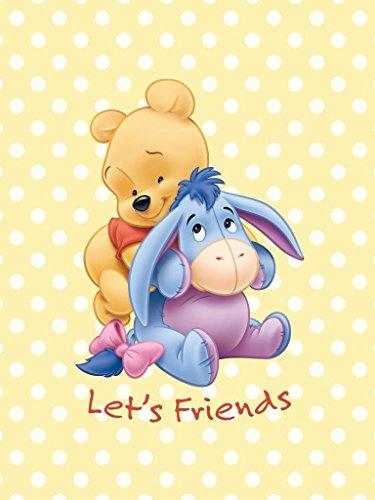 Couverture-pour-bb-Enfants-couverture-Poussette-Winnie-lourson-Lets-Friends-Taille-75-x-100-cm-en-jaune