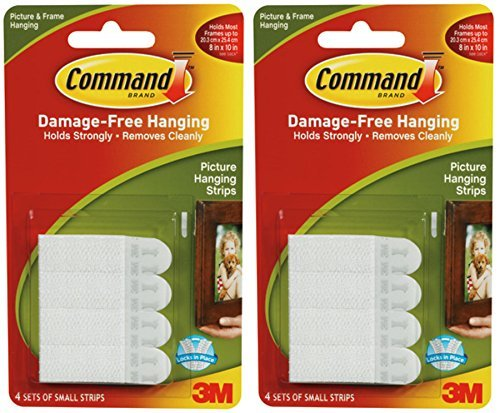 2 x 3M Command Small Picture Strips Set Of 4 Strips by Command (Power-strip-pack)