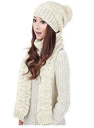 omerker Frauen süße und warme Caps Beanies Hat Zwei-teiliges Set für Winter mit Kopfbedeckungen weiß Knit Slouch Hut