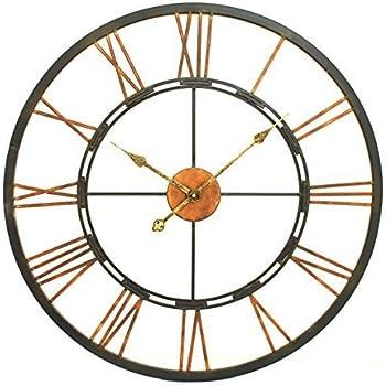 Metal Skeletal Roman Numerals Wall Clock   Large