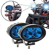 20 Watt Oval Blau Motorrad LED Nebelscheinwerfer CREE Arbeitsscheinwerfer Spot Strahl Fahrscheinwerfer Scheinwerfer 12 V für Offroad Auto LKW ATV SUV Blat JK (2er Pack)