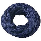Miobo Zopfmuster Stricken Loopschal Wolle warmen Winter Dicke Schal Schleife Kreis Schal Gestrickte Rundschal Schlauchschal (Dunkelblau)