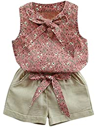 FeiliandaJJ Girls Clothes Set, Baby Kids Cute Bowknot Printed Sleeveless T-Shirt Tops Shorts Pants Outfits For 2 3 4 5 6 7 Years