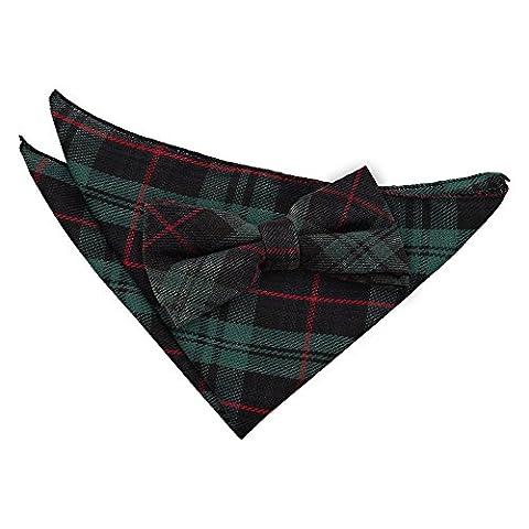 DQT Premium Cotton Blend Scottish Tartan Black and Green with