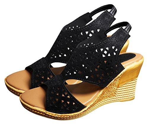 ZIAULA Womens Casual Wedges Heel Sandal Black Color