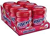 Mentos Gum Squeez Erdbeere | Zuckerfrei mit Erdbeergeschmack und Frucht-Füllung | 6er Box Kaugummi-Dragees